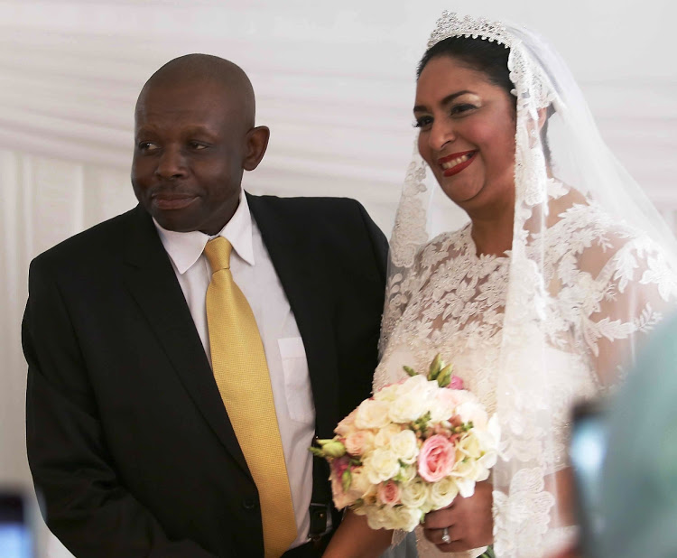 Western Cape judge president John Hlophe and Judge Gayaat Salie-Hlophe during their wedding in Claremont, Cape Town, in April 2015.