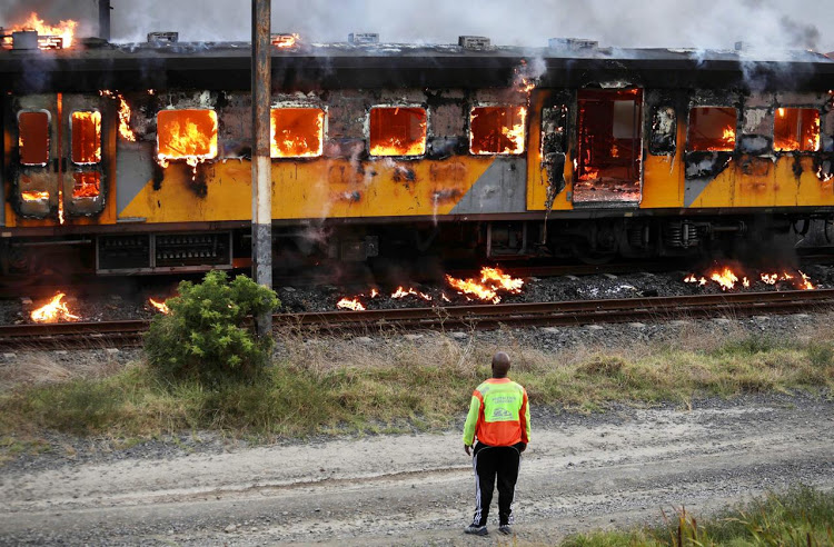 A train goes up in flames on Cape Town's northern line on January 25 2020.