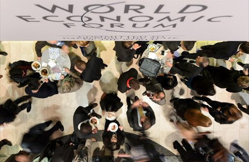 Participants gather during lunchtime on the last day of a previous annual meeting of the World Economic Forum, in Davos, Switzerland. File photo.