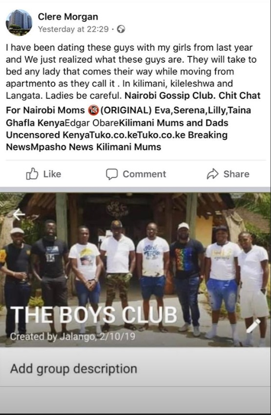 """The controversial """"Boys Club"""" group created by Jalang'o"""